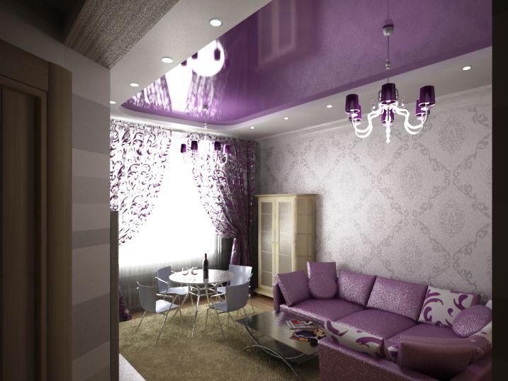 Двухуровневые матовые натяжные потолки фиолетового цвета в зал с люстрой и точечными светильниками