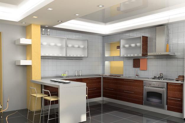 В этом примере кухня также разбита на функциональные зоны при помощи дизайна двухуровневого потолка. Сдержанность форм и четкость линий придают интерьеру кухни атмосферу спокойствия и гармонии