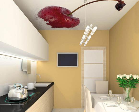 Фотопечать на потолке в виде вишенки — изюминка интерьера