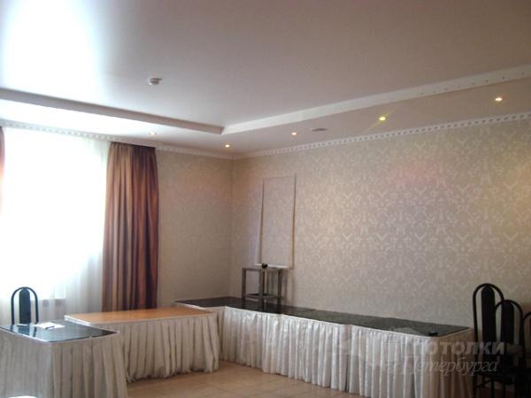 Двухуровневые матовые натяжные потолки в зал