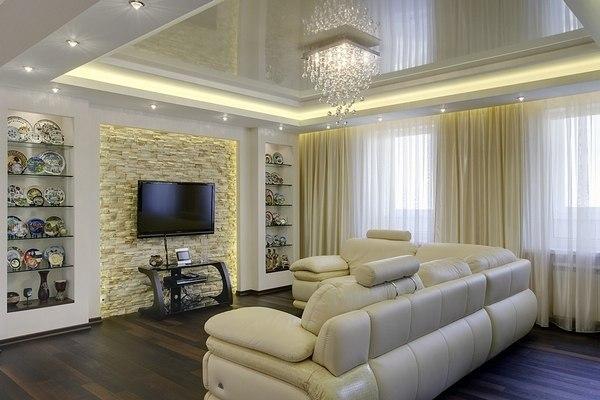 Натяжные потолки в зал, гостиную (8)
