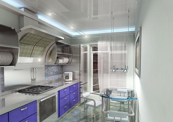Натяжной потолок с применением декоративной подсветки